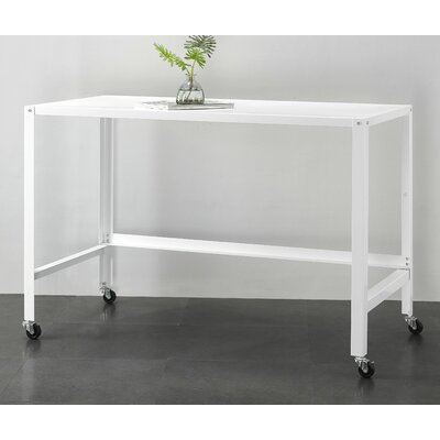 Brewster Metal Console Rolling Desk Color: White