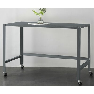Brewster Metal Console Rolling Desk Color: Charcoal