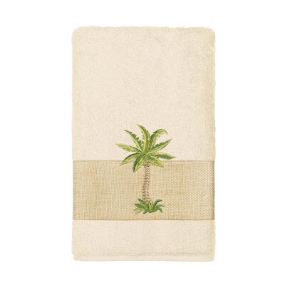 Mcleod Embellished Turkish Cotton Hand Towel Color: Cream