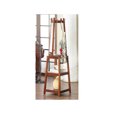 Owings Wooden Swivel Hall Tree with Mirror Color: Cherry