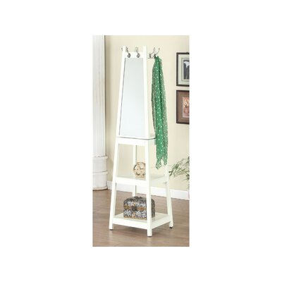 Owings Wooden Swivel Hall Tree with Mirror Color: White