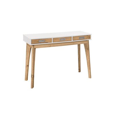 Tebikerei 3 Drawer Console Table Color: White/Natural Wood
