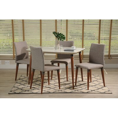Tasker 5 Piece Dining Set Color: White Gloss/Gray