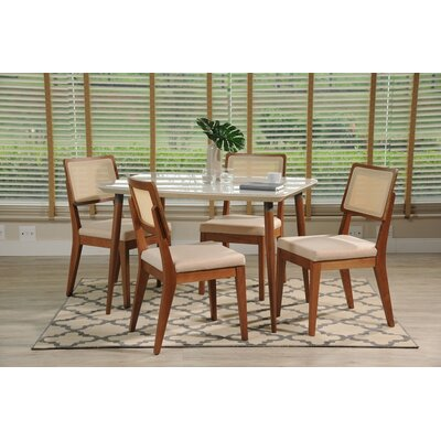 Tasker 5 Piece Dining Set Color: White Gloss/Dark Beige