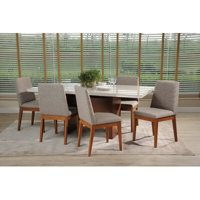 Tauber 7 Piece Dining Set Color: White Gloss/Gray