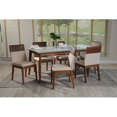 Tedeschi 7 Piece Dining Set Color: White Gloss/Dark Beige/Brown