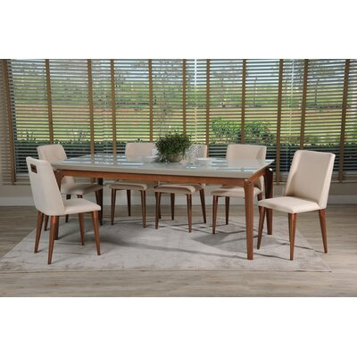 Tatro 7 Piece Dining Set Color: Off White/Dark Beige