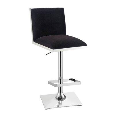 Normandie Adjustable Height Swivel Bar Stool Color: Black