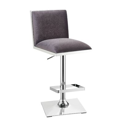 Normandie Adjustable Height Swivel Bar Stool Color: Gray