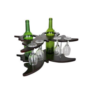 Butterfly Shaped Wooden Holder Display 2 Bottle Tabletop Wine Glass Rack