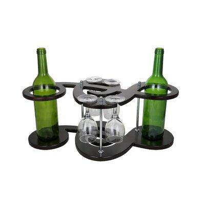 Musical Key Shaped Wooden Holder Display 2 Bottle Tabletop Wine Glass Rack