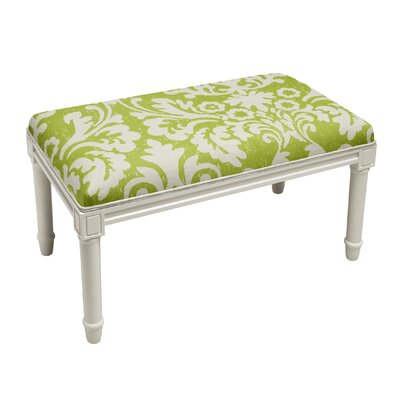 Azurine Jacobean Floral Wood Bench Upholstery: Green