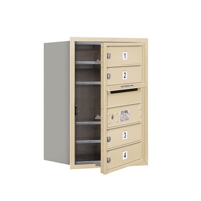 Recessed USPS 5 Door Front Load 4C Horizontal Mail Center with 1 Parcel Locker Mailbox Color: Sandstone