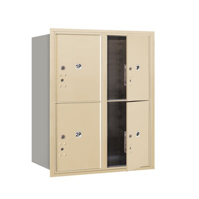 Recessed USPS Aluminum 4 Unit 4C Horizontal Parcel Locker Mailbox Color: Sandstone