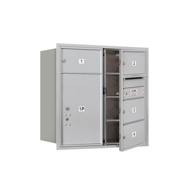 Recessed Private 6 Door Front Load 4C Horizontal Mail Center with 1 Parcel Locker Mailbox Color: Aluminum