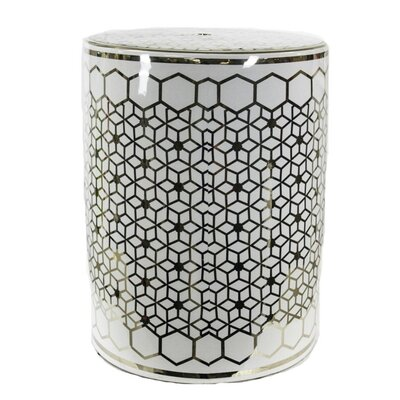 Keim Mosaic Garden Stool Color: Gold/White
