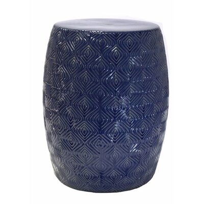 Prichard Contemporary Ceramic Garden Stool Color: Blue/White