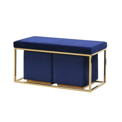 Keister Modish Metal Bench Upholstery: Blue