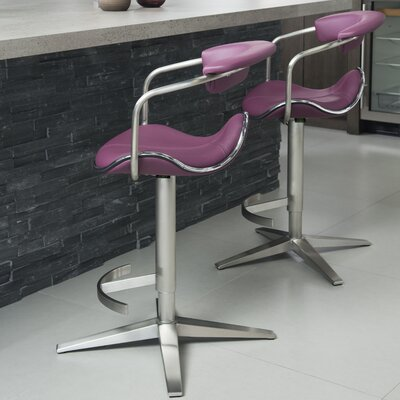 Weinert Adjustable Height Swivel Bar Stool Color: Purple