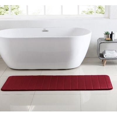 Leone Stitch Memory Foam Bath Rug Color: Pomegranate