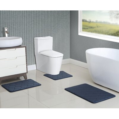 Younkin Memory Foam 3 Piece Bath Rug Set Color: Blue