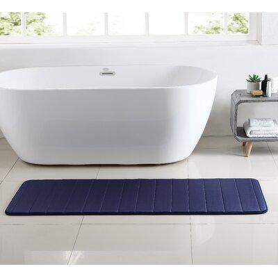 Leone Stitch Memory Foam Bath Rug Color: Navy