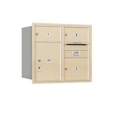 Recessed Private 5 Door Rear Load 4C Horizontal Mail Center with 1 Parcel Locker Mailbox Color: Sandstone
