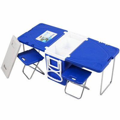 28 Can Rolling Picnic Camping Cooler Color: Blue