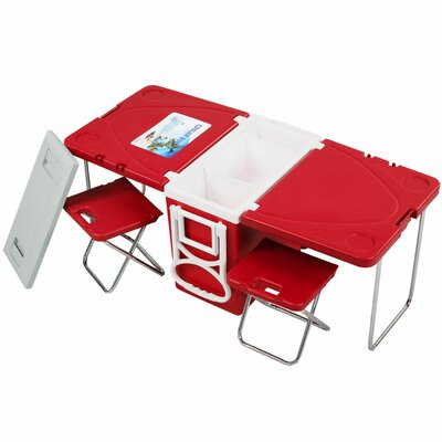 28 Can Rolling Picnic Camping Cooler Color: Red