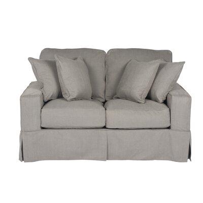 Elsberry Box Cushion Loveseat Slipcover Upholstery: Gray