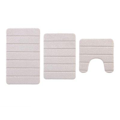 Traft Greige 3 Piece Memory Foam Bath Rug Set