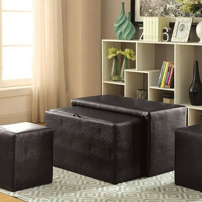 VanderHoeven Commodious Nesting Leather Storage Bench Set