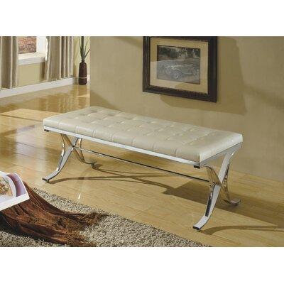 Kellam Metal Frame Metal Bench Upholstery: Beige