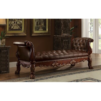 Frederic Genuine Upholstered Bench Upholstery: Cherry Oak Brown
