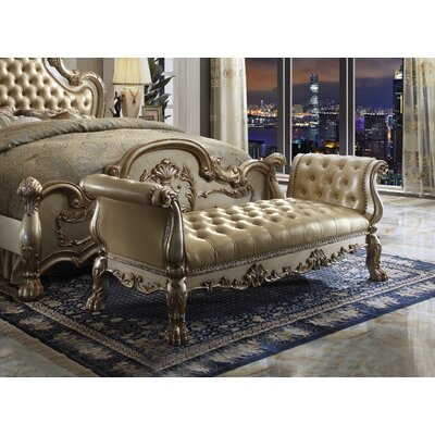 Frederic Genuine Upholstered Bench Upholstery: Gold