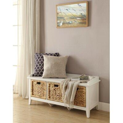 Whitten Rectangular Basket Wood Storage Bench Color: White