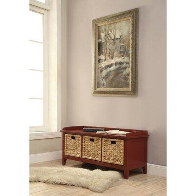 Whitten Rectangular Basket Wood Storage Bench Color: Red