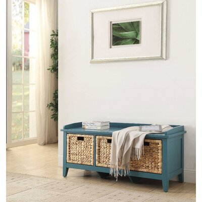Whitten Rectangular Basket Wood Storage Bench Color: Blue