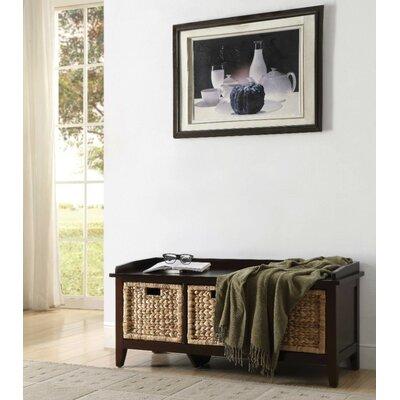Whitten Rectangular Basket Wood Storage Bench Color: Brown