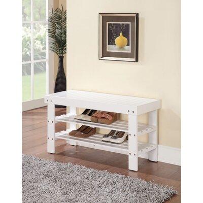 Kinkead Rectangular Wood Storage Bench Color: White