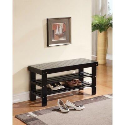 Kinkead Rectangular Wood Storage Bench Color: Black