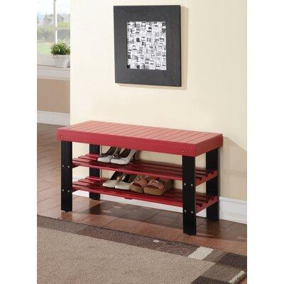 Kinkead Rectangular Wood Storage Bench Color: Red