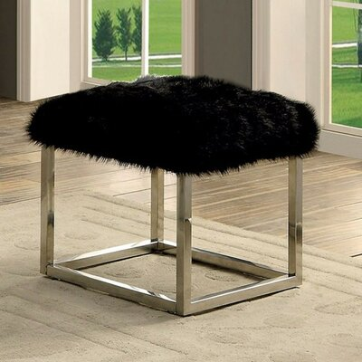 """Kellems Ultra Comfy Metal Bench Size: 18"""" H x 21"""" W x 19"""" D, Upholstery: Black/Silver"""