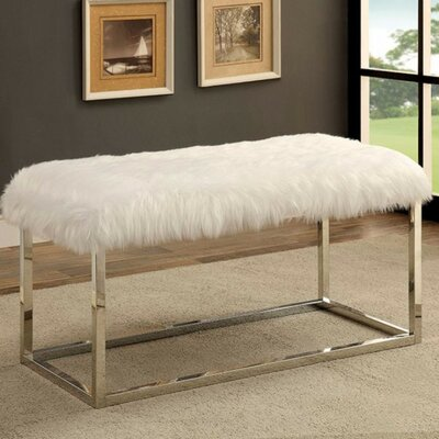 """Kellems Ultra Comfy Metal Bench Size: 19.75"""" H x 40"""" W x 19"""" D, Upholstery: White/Silver"""