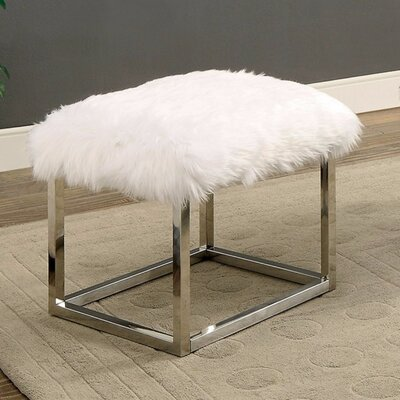 "Kellett Shaggy Metal Bench Size: 18"" H x 21"" W x 19"" D, Upholstery: White/Silver"