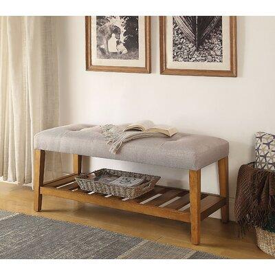 Wasinger Wooden Upholstered Bench Upholstery: Light Gray