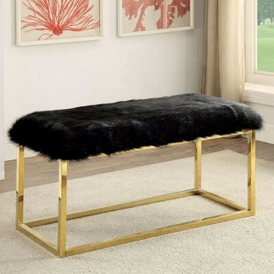 """Kellems Ultra Comfy Metal Bench Size: 19.75"""" H x 40"""" W x 19"""" D, Upholstery: Black/Gold"""