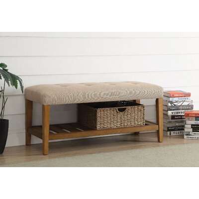 Wasinger Wooden Upholstered Bench Upholstery: Beige