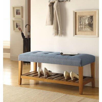 Wasinger Wooden Upholstered Bench Upholstery: Blue