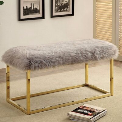 "Kelley Fuzzy Metal Bench Size: 19.75"" H x 40"" W x 19"" D, Upholstery: Gray"